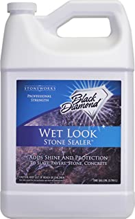 Black Diamond Stoneworks Wet Look Natural Stone Sealer Provides Durable Gloss and Protection to: Slate, Concrete, Brick, P...