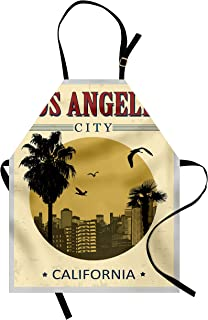 Lunarable USA Apron, Los Angeles City from California in Vintage Style Birds Vacation Journey Travel Theme, Unisex Kitchen Bib with Adjustable Neck for Cooking Gardening, Adult Size, Olive Red