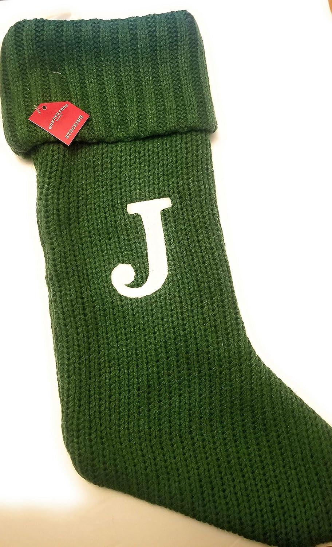 永遠の定番 Wondershop Christmas Holiday Thick 売買 Green Monogram Stocking Lette