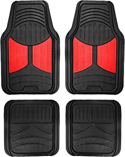 FH Group F11313 Monster Eye Trimmable Floor Mats (Red) Full Set - Universal Fit for Cars Trucks and SUVs