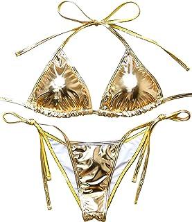 652b1b4e5dfa5 MOSHENGQI Women Liquid String 2 Piece Brazilian Metallic Bathing Suit  Swimsuit Bikini Set