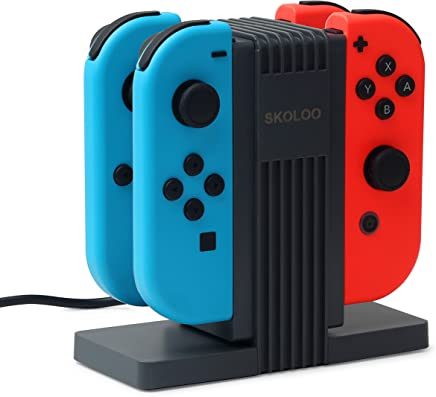 NS Joy-Con Charging DockSKOLOO Quad Charging Station Charge Stand Built-in 4 Slide Orbits for Nintendo Switch Joy-Con Controllers