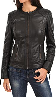 DOLLY LAMB 100% Leather Jacket for Women - Collarless Deep Neck & Slim Fit - Moto, Bomber, Biker Winter Casual Wear