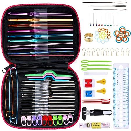 Anpro 100 PCS Accessoires Nécessaires à Tricoter 22PCS Crochets de Tricot Aluminium Assortiment de crochets Outils Trousse Rose En Cuir Pour Débuter ou Travail Occasionnel