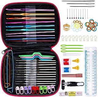 Anpro 100 PCS Accessoires Nécessaires à Tricoter 22PCS Crochets de Tricot Aluminium Assortiment de crochets Outils Trousse...