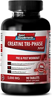 Muscle Growth Supplements - CREATINE TRI-Phase 5000 - PRE & Post Workout - creatine Blend - 1 Bottle (90 Tablets)