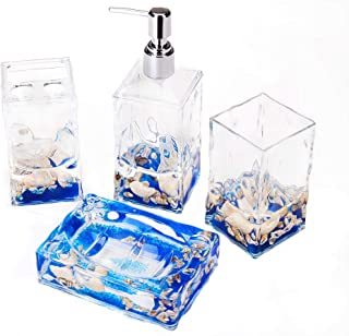 Locco Decor 4 Piece Acrylic Liquid 3D Floating Motion Bathroom Vanity Accessory Set Shell
