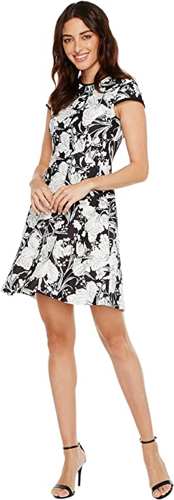 Cap Sleeve Printed Floral Scuba Crepe Fit and Flare