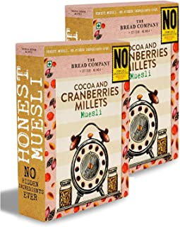 The Bread Company Cocoa & Cranberries Millets Muesli | No Chemicals Preservatives (Pack of 2)