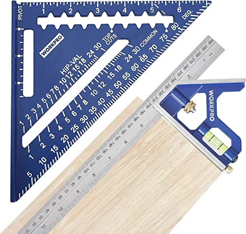 WORKPRO Rafter Square and Combination Square Tool Set, 7 IN. Aluminum Alloy Die-casting Carpenter Square and 12 Inch ...