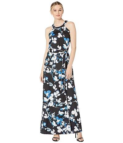 Calvin Klein Halter Maxi Dress (Black/Blue Multi) Women