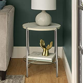 WE Furniture Modern Glam Round Side End Accent Table Living Room, 20 Inch, White Marble, Silver