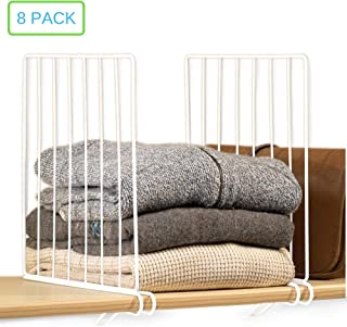 Xabitat Vertical Closet Wood Shelf Dividers 2.0 - New and Improved Clothing Organizer with Easy Clamping - Powder Coated Steel Wire Metal Wardrobe Separators - Set of 8 - White