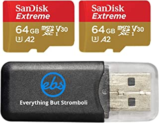 SanDisk 64GB Micro SDXC Extreme Memory Card (Two Pack) Bundle SDSQXA2-064G-GN6MA Works with GoPro Hero 7 Black, Silver, He...