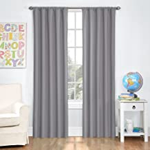 Eclipse Microfiber Thermal Insulated Single Panel Rod Pocket Room Darkening Privacy Curtains for Nursery, 42