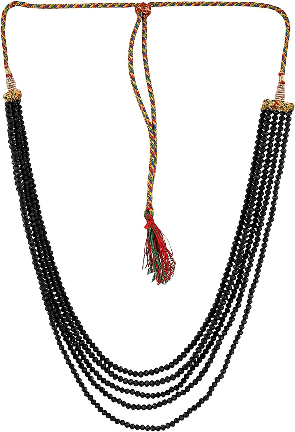 Sansar India Five Layer Beads Multistrand Indian Necklace Jewelry for Girls and Women