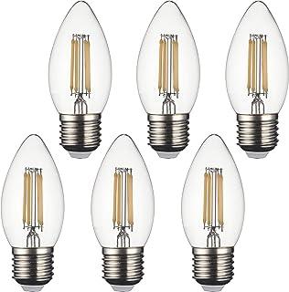 SD LUX E27 - Bombillas LED Vela de filamento vintage, C35 sin parpadeo, rosca Edison pequeña, 4 W (equivalente a 40 W) 450 lm blanco cálido 2700 K, 6 paquetes