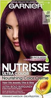 Garnier Nutrisse Ultra Color Nourishing Permanent Hair Color Cream, BR1 Deepest Intense Burgundy (1 Kit) Red Hair Dye (Pac...