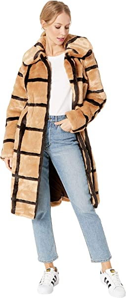 Windowpane Faux Fur Car Coat