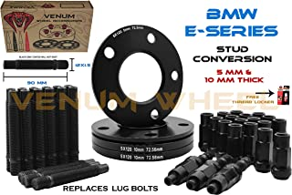 (2) 5mm + (2) 10mm Black Staggered Wheel Spacers + 12x1.5 Black Racing Stud Conversion Kit fits Aftermarket & OEM Works With BMW E36 E46 E90 E92 E64 E23 E32 E38 E31