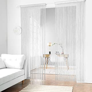 Taiyuhomes Beaded String Curtains with Pearl Beads Dense Fringe Beaded Door Tassel Curtains (39x79,White)