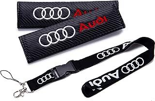 QZS New 1pcs Audi Keychain Lanyard Badge Holder + 2pcs Set Audi Carbon Fiber Car Seat Belt Shoulders Pad Cover Fit(Audi)