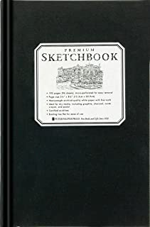 Premium Black Sketchbook - Small (5 1/2 inch x 8 1/2 inch, Micro-Perforated Pages)