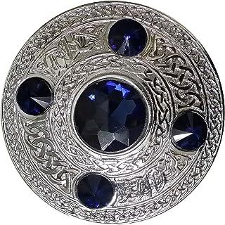 """AAR Men`s Celtic Kilt Fly Plaid Brooch 5 Stones Silver 4""""/ Scottish/Highland"""