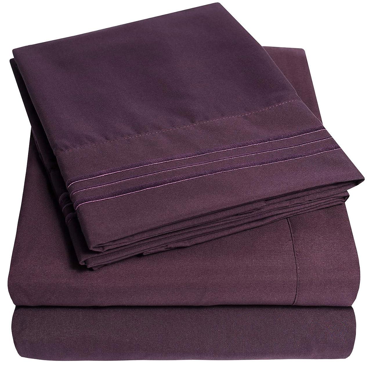 特許批判的1500 Supreme Collection ベッドシーツ - 4点 ベッドシーツセット 深いポケット 最安価格、SINCE 2012 - しわができにくい低刺激性寝具 23色 - キング、パープル
