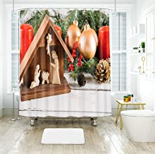 AMDXD Waterproof Shower Curtain Polyester 72x78Inch (180x200CM), Christmas Tree Christmas Ball Christmas Fruit Candle 3D S...