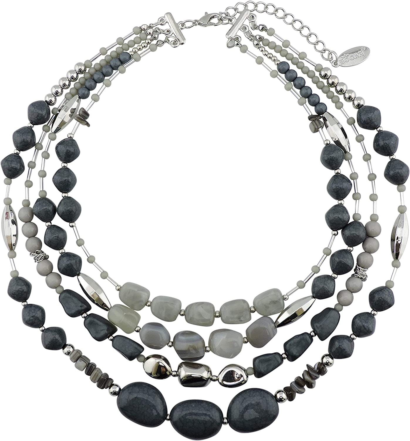 New mail order Bocar Multi Layer 4 Strand Statement Beaded Necklace 17