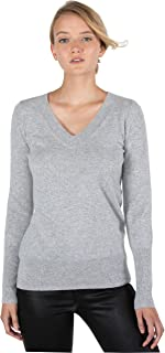 Women's 100% Pure Cashmere Long Sleeve Ava V Neck Pullover Sweater