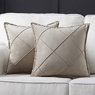 Longhui bedding Khaki Throw Pillow Covers, Set of 2, 22x22 Decorative Pillow Cover Set, Checkered Couch Pillow Cases with Zipper Closure, Stylish Cushion Covers for Bed & Sofa