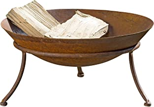 WHW Whole House Worlds 2 Piece Americana Fire Pit Set, Wide Bowl, Raised Tripod Stand, Vintage Style Rusty Finish, Iron, 18 1/2 Diameter x 9 H Inches
