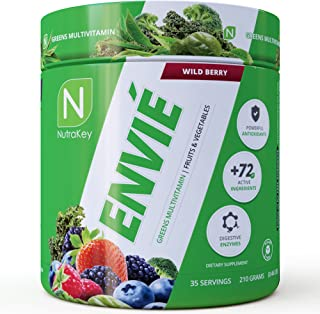 NutraKey Envie, Powdered Multivitamin with Fruits, Greens, Antioxidants, Digestive Enzymes and Amino Acids, 35 Servings
