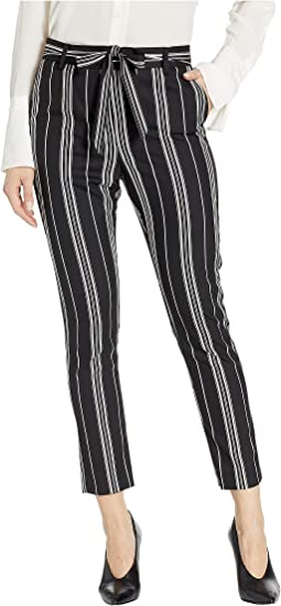 Petite Black Stripe Paperbag Waist Belted Pants