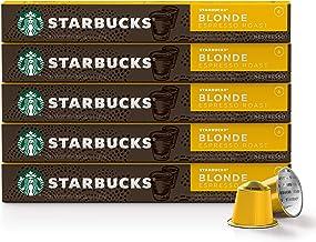 Starbucks by Nespresso, Blonde Roast Espresso (10 Count (Pack of 5) single serve capsules, compatible with Nespresso Original Line System)