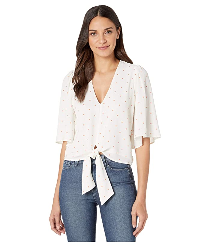1.STATE  Flounce Sleeve V-Neck Moonlit Polka Blouse (Sunset) Womens Clothing