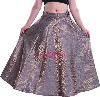 SNEH Women's Chanderi Brocade Skirt (Grey,Free Size)