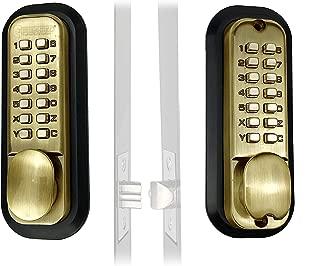 Mechanical Keyless Combination Latch Door Lock with Double Keypads (Antique Brass)