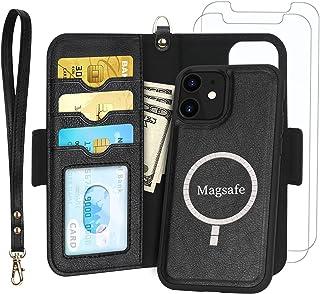 Skycase iPhone12ケース iPhone12Pro ケース 6.1インチ [MagSafe対応] 手帳型ケース+【2枚強化ガラス】背面ケース 両用 2way 分離式 取り外し可能 内蔵マグネット スマホケース カード収納 耐衝撃 高...