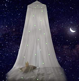 Dream Tada Bed Canopy for Girls Boys Teens - Glow in The Dark Tent Kids, Extra Stars in Our Round Dome | Experience a Sky Full of Stars in Our Transparent Canopy, Fits Twin, Full, Queen