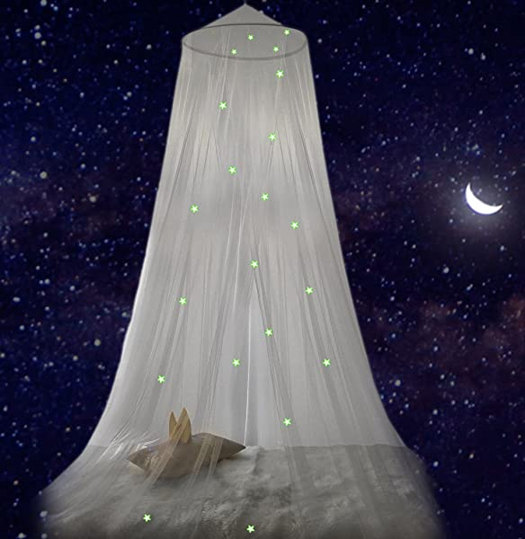 DREAM TADA Bed Canopy For Girls Boys Teens Glow In The Dark Tent Kids Extra Stars In Our Round Dome Experience A Sky Full Of Stars In Our Transparent Canopy Fits Twin Full Queen
