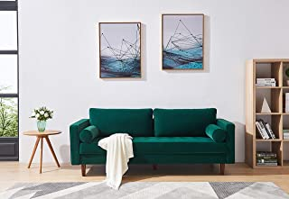 EiioX Mid-Century Modern Sofa with Pillow Velvet Fabric Bench Sectional Couch, Easy Assembly Chaise Lounge for Any Style of Living Room, Bedroom, Office etc, Green