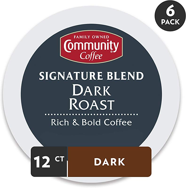 Community Coffee Signature Blend Dark Roast Coffee 72 Ct Single Serve 12 Count Pack Of 6 Compatible With Keurig 2 0 K Cup Brewers Full Body Bold Taste 100 Arabica Coffee Beans