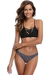 242cef2f61 SHEKINI Sexy Maillots de Bain pour Femme Halter Triangle Réglable Bikini 2 Pieces  Push-up