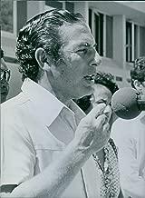 Vintage photo of Seychelles politician, Albert Rene giving speech, 1983.