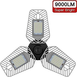 LZHOME LED Garage Lights, Deformable LED Garage Ceiling Lights 9000 Lumens, 82W CRI 80 Led Shop Lights for Garage, Adjustable Garage Lights, Led Garage Lighting (No Motion Activated) (1-Pack)