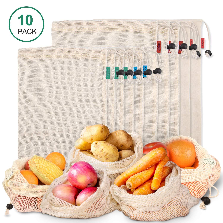 Bolsas Reutilizables Hechas con Malla de Algodón Orgánico Natural, Bolsa de Compras Lavable son Producto Seguro y Ecológico para Guardar Frutas, Verduras y Hasta Juguetes, 10 Unidades: Amazon.es: Hogar