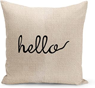 Hello Accent Pillow Beige Linen Pillow with Black Foil Print Couch Pillows